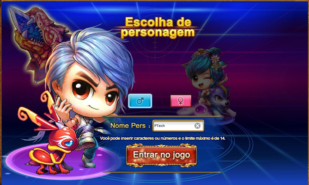 Defina um nome para o seu personagem para entrar no jogo (Foto: TechTudo)