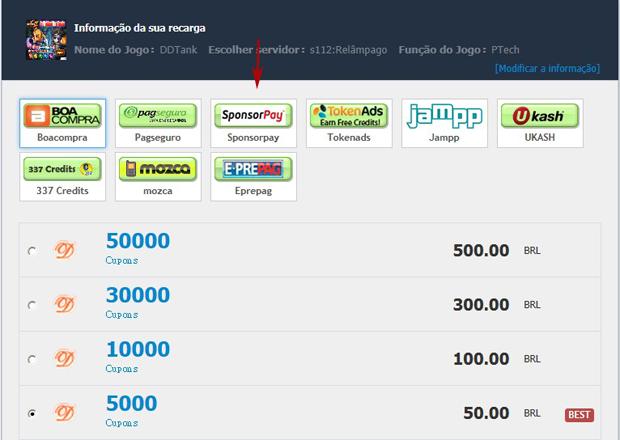 Na tela de recarga escolha a opção SponsorPay (Foto: TechTudo)