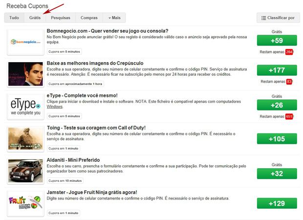 Na página do SponsorPay selecione a aba Grátis (Foto: TechTudo)